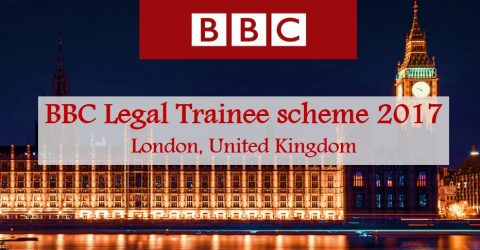 BBC Legal Trainee scheme 2017 in London, United Kingdom