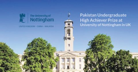 Pakistan Undergraduate High Achiever Prize at University of Nottingham in UK