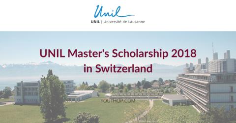 UNIL Master's Scholarship 2018 in Switzerland