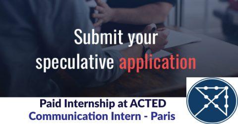 Paid Internship at ACTED: Communication Intern – Paris