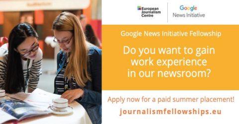 Google News Initiative Fellowship Programme 2020 in Europe