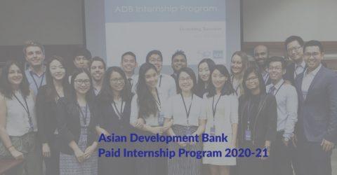 Asian Development Bank Paid Internship Program 2020-21