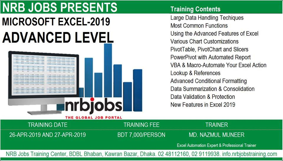 Training session on Microsoft Excel 2019 (Advanced Level)