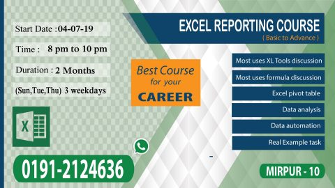 Training course on Excel Reporting 2019 in Dhaka