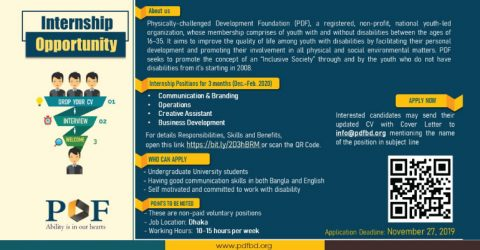 Join Physically-challenged Development Foundation (PDF) as an Intern
