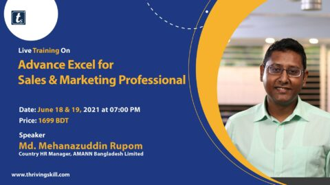 Thriving Skills brings Advance Excel For Sales and Marketing Professionals 2021